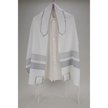 Exclusive White, Gray and Silver Tallit, Bar Mitzvah Tallit