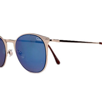 Quay Bailey Gold Sunglasses, Blue Lenses