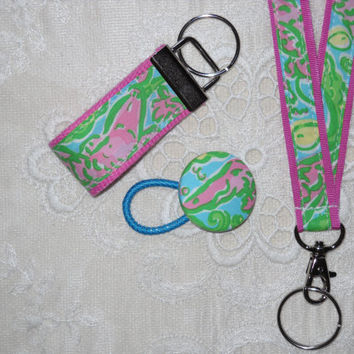 Pink Green Lilly Pulitzer Chomp Fabric Lanyard Set with Lanyard Key Chain Ponytail Holder