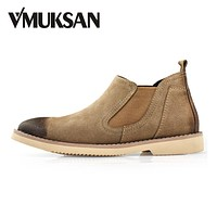 VMUKSAN Brand New Mens Boots Suede Leather Chelsea Boots 2017 Fashion Men's Shoes Casual Ankle Booties Smart Shoes Slip-On