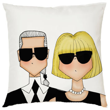 Anna Wintour and Karl Lagerfeld throw pillow for the home