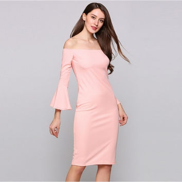 Long Bell Sleeve Off The Shoulder Bodycon Solid Pencil Going Out Dress