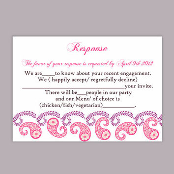 DIY Bollywood Wedding RSVP Template Editable Word File Instant Download Printable RSVP Cards Pink Rsvp Template Paisley Rsvp Card