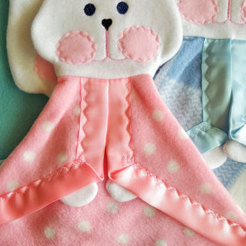 Pink polka dot replica Fisher Price bunny puppet lovey