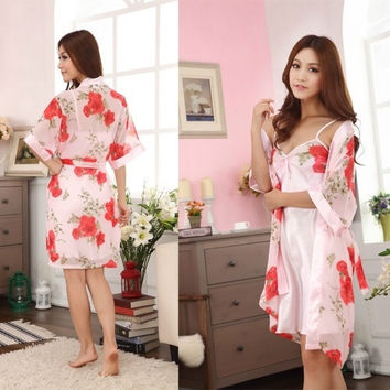 Sexy Women's Two Pieces Strappy Sexy Red Peony Pajamas Night Dress(One size) = 1958342148