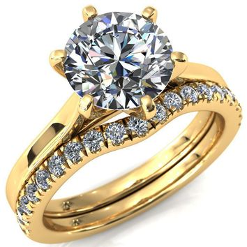 Darci Round Moissanite 6 Prong Cathedral Solitaire Engagement Ring