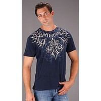 Affliction Skeleton Mens Tee Blue