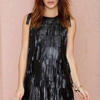 Shake It Up Fringe Vegan Leather Dress