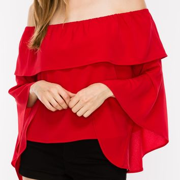 off the shoulder layered bell sleeve top