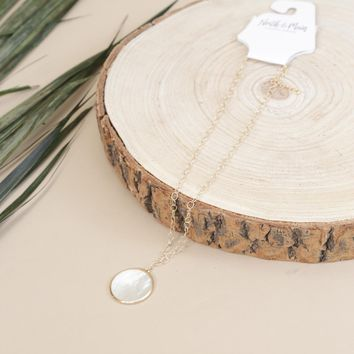 Mother Of Pearl Circle Necklace, Gold