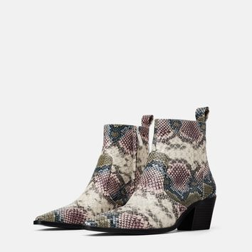 ANIMAL PRINT COWBOY HEELED ANKLE BOOTS