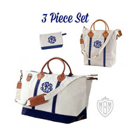 Monogrammed Canvas Leather Weekender - 4 Colors - Preppy Travel Set - Personalized Luggage - Monogrammed Bride Gift