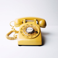 Mid Century Modern Vintage Telephone / Rotary Phone by Western Electric - Mustard Yellow, Rotary Turn Dial Phone