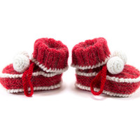 Hand Knitted Baby Boots, Christmas Baby Booties, Red Knitted Baby Shoes , 6 to 12 months