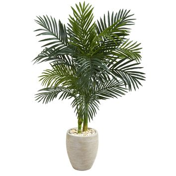Artificial Tree -4.5 Foot Golden Cane Palm Tree In Oval Planters