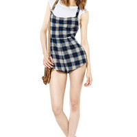 Blue Ash-based Check Double Pockets Y-Back Suspenders Romper