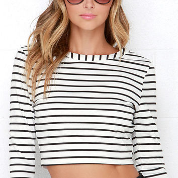 Jack by BB Dakota Corsbie Black and Ivory Striped Crop Top