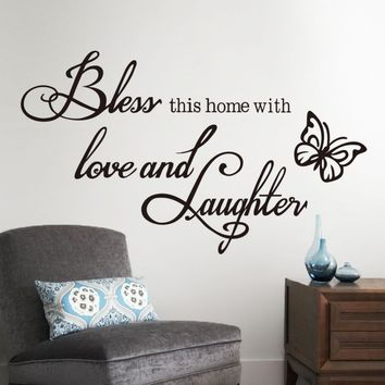 Fashion DIY Wall Sticker quotes Decals Bless home with love and laughter Saying Quote butterfly wall Decals wallpaper