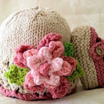 Hand Knitted Baby Hat in Pink and Ivory Lace with a Flower - Cotton Knitted Baby Cloche-Knitted Children Clothing - FEMININITY HATIFIED