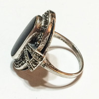 Art Deco Style Ring, Sterling Silver, Onyx, Marcasites, Oval Face, Vintage, Size 7.75, Hallmarked