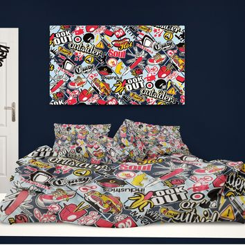Skateboard Comforter Graffiti on Argyle Pattern from Extremely Stoked Skateboard Bedding collection