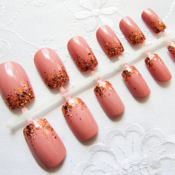 Glamour Princess - Fake Nails, Nude Pink, Glitter Nails, Press on, Nails, False Nails, Acrylic Nails