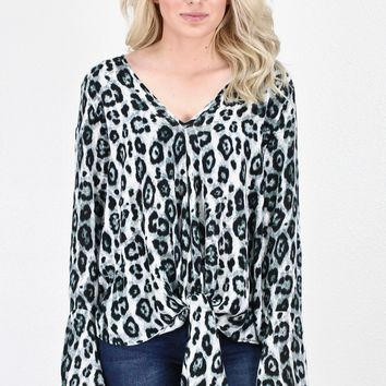 Bell Sleeve Tie Front Leopard Blouse {Charcoal}