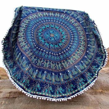 ESBU3C 2016 Vintage Printed Round Tassels Indian Mandala Tapestry Hippie Mat Wall Hanging Summer 150cm Beach Towel Large Scarf P30