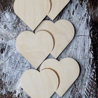 50 Wooden Hearts 2 together Unfinished Wood Hearts Wedding Decoration Natural Wood Heart shaped Gift Tag Place Card Rustic Wedding Decor