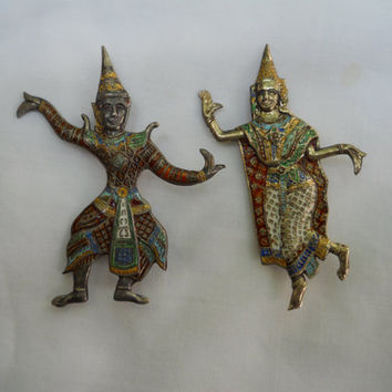 SIAM STERLING brooches-exotic dancers-multi colored enamels-wonderful example of vintage siam sterling jewelry