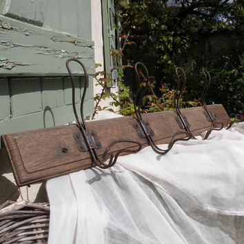 French shabby chic rustic wooden coat and hat rack, coat rack, wooden coat rack, country home, cottage chic, hat rack, shabby chic