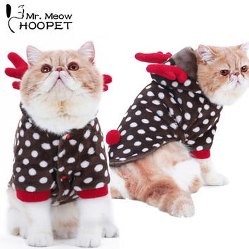Pet cat Funny Clothes Christmas clothes Hallowmas suit Dot deer Elk Party Dress Flannel Thick Warm Soft Cute Cat Fall Winter