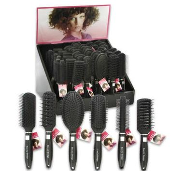 Assorted Black Hair Brushes on Display