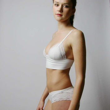 SALE long line padded bra in organic cotton - CAROUSEL lingerie range - made to order