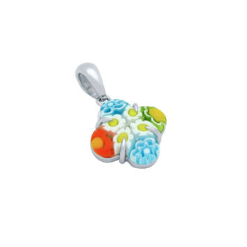 "Sterling Silver Multicolor Glass Murano Millefiori Glass Pendant Clover  (Free 18"" Chain)"
