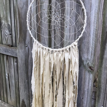 "Fabric dream catcher, cream dream catcher, boho decor, nursery decor, wall hanging, big dream catcher,  dorm decor, 10"" dreamcatcher"