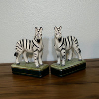 Pair of vintage Takahashi San Francisco zebra book ends, ceramic figurines made in Japan, zebra home goods