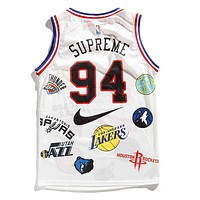 Supreme X Nike X Jordan Popular Women Men Casual Print Sleeveless Vest Basketball Top White I12488-1