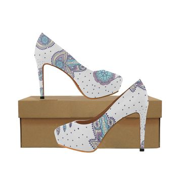 Bohemian pattern with hamsa and dreamcatcher Women's High Heels (Model 044)