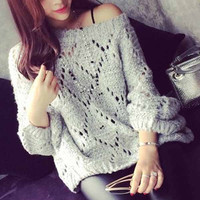 Cut Out Long Sleeve Pullover Sweater
