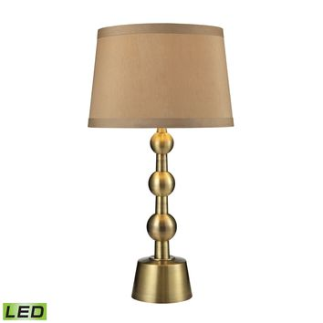 D2697-LED Montpelier LED Table Lamp in Aged Brass With Light Taupe Shade - Free Shipping!