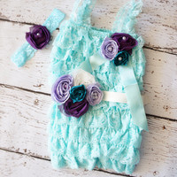 Mermaid Romper - Lace romper - Petti lace Romper - Under the Sea Birthday Outfit - Mermaid - Aqua Romper - Baby Romper - Mermaid Party