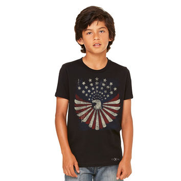 Zexpa Apparel™ American Bald Eagle USA Vintage Flag Youth T-shirt Patriotic Tee