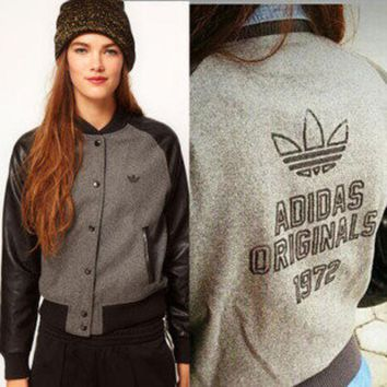 Adidas Women PU Long Sleeve Sport Casual Jacket