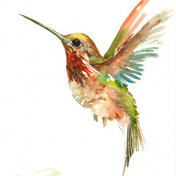 Flying Hummingbird,  original watercolor painting, 12 X 9in, hummingbird wall art