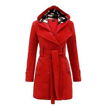 Winter hooded sweater coat women double-breasted cardigan jacket stitching long woolen coats with belt clothing vestidos LBD6321