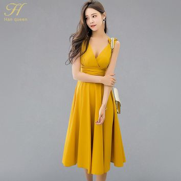 H Han Queen Vintage Sexy Swing Fit And Flare Waist Ruched Draped Midi Long Dress Women 2018 New Summer Solid Beach Tank Vestidos