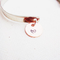 Breathless silver cuff with copper hand stamped heart disc charm dangle hammered