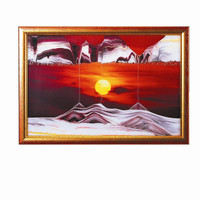 Moving Sand Art Picture Golden Sun in Frame in Movie Series