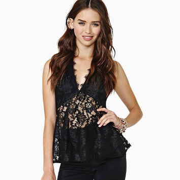 Black Deep V-Neck Halter Lace  Detail Backless Top